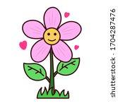 cute flower cartoon...   Shutterstock .eps vector #1704287476