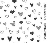 heart doodles seamless pattern. ...   Shutterstock .eps vector #1704296209