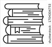 books stack black line icon. a...
