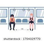 people in masks ride the subway ... | Shutterstock .eps vector #1704329770
