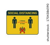 social distancing. keep the 1 2 ... | Shutterstock .eps vector #1704386590