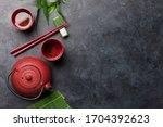 Japanese Tea And Chopsticks On...