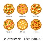 pizza top view set with... | Shutterstock .eps vector #1704398806