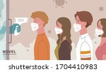 people lining up for body... | Shutterstock .eps vector #1704410983
