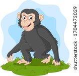 Cartoon Happy Chimpanzee In The ...