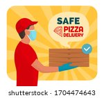 safe pizza delivery at home... | Shutterstock .eps vector #1704474643