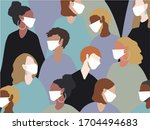 people wearing medical mask all ... | Shutterstock . vector #1704494683