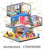 quarantine  stay home... | Shutterstock .eps vector #1704534400