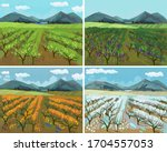 four seasons. landscape with... | Shutterstock .eps vector #1704557053