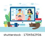 computer with group of people... | Shutterstock .eps vector #1704562936