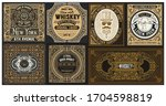 set of 6 vintage labels for... | Shutterstock .eps vector #1704598819