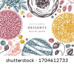 berries cakes and pies banner.... | Shutterstock .eps vector #1704612733