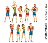 athletes of various sports... | Shutterstock .eps vector #1704618169