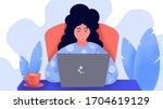 work at home sleepy women sit... | Shutterstock . vector #1704619129
