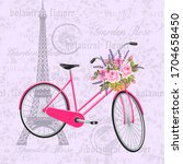 Pink Bicycle With A Basket Ful...