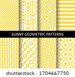 vector set of yellow ornamental ... | Shutterstock .eps vector #1704667750