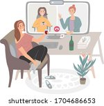 hand drawn vector girl on a... | Shutterstock .eps vector #1704686653
