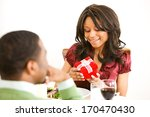 valentine's day  woman opens... | Shutterstock . vector #170470430