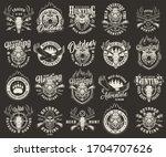 vintage monochrome hunting club ... | Shutterstock . vector #1704707626