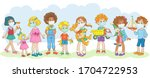 eight children of different... | Shutterstock .eps vector #1704722953