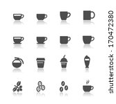 Coffee And Coffee Cup Icons...