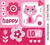 kitty cat love happy valentine... | Shutterstock .eps vector #170475098
