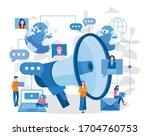 megaphone. digital marketing ... | Shutterstock .eps vector #1704760753