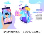 man send gifts to women in chat ... | Shutterstock .eps vector #1704783253