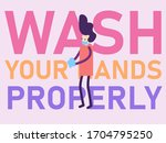 hand washing with soap... | Shutterstock .eps vector #1704795250