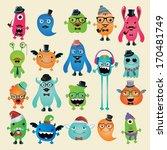 vector freaky hipster monsters... | Shutterstock .eps vector #170481749