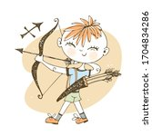 children's zodiac. sagittarius... | Shutterstock .eps vector #1704834286
