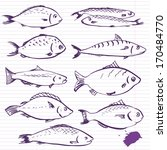Ink Drawing Fishes  Vector...