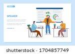speaker near graph report... | Shutterstock .eps vector #1704857749