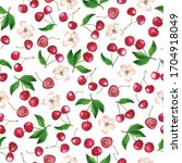 seamless pattern with cherry...   Shutterstock . vector #1704918049