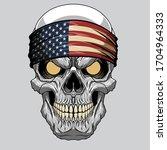 evil skull in a bandana.... | Shutterstock .eps vector #1704964333