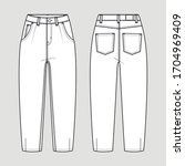 slouchy jeans. technical sketch....   Shutterstock .eps vector #1704969409