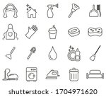 maid or housekeeper icons black ... | Shutterstock .eps vector #1704971620