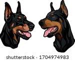 Dog Heads  Doberman Pinscher...