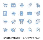 shopping cart vector line icons ... | Shutterstock .eps vector #1704996760