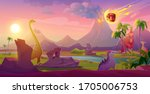 dinosaurs extinct with... | Shutterstock .eps vector #1705006753