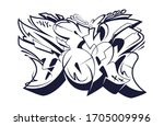 new york graffiti wild style... | Shutterstock .eps vector #1705009996