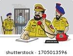 illustration of police station... | Shutterstock .eps vector #1705013596