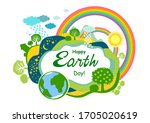 happy earth day. eco friendly...   Shutterstock .eps vector #1705020619