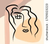 outline of woman's face and... | Shutterstock .eps vector #1705023223