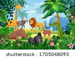cute set animals in jungle... | Shutterstock .eps vector #1705048093
