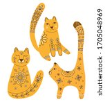 Vector Set Of Cute Cats In Folk ...