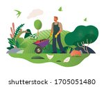 happy spring. gardening. modern ... | Shutterstock .eps vector #1705051480