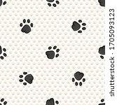 hand drawn cute black pet cat...   Shutterstock .eps vector #1705093123