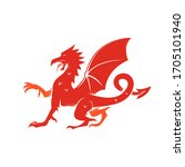 red dragon logo  isolated icon... | Shutterstock .eps vector #1705101940