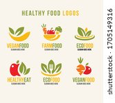 healthy natural product logos... | Shutterstock .eps vector #1705149316